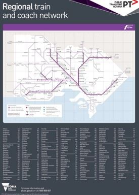 Melbourne regional train and coach map