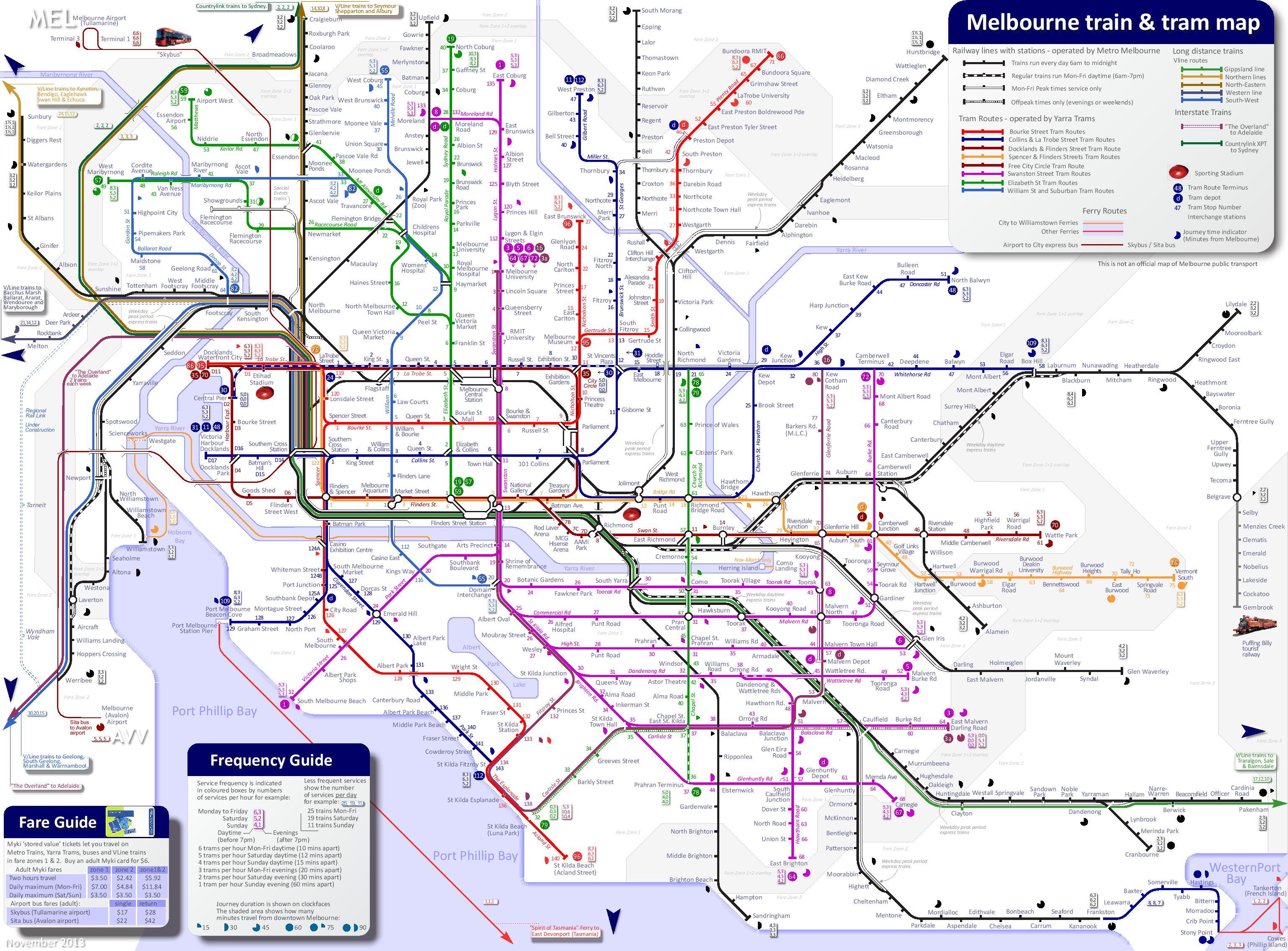 Melbourne Tram Map Melbourne train and tram map Melbourne Tram Map