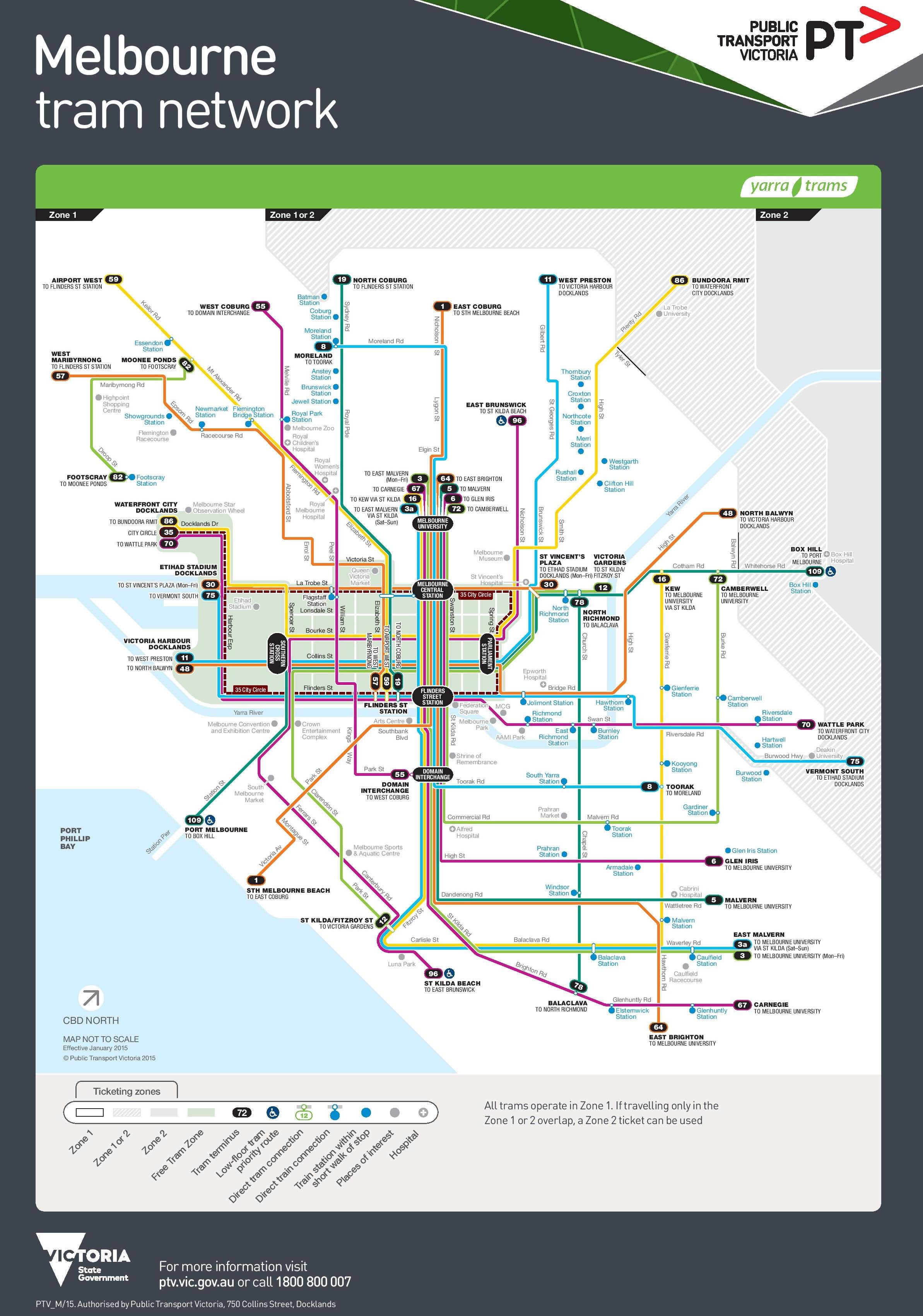 Tram Melbourne Map Melbourne tram map