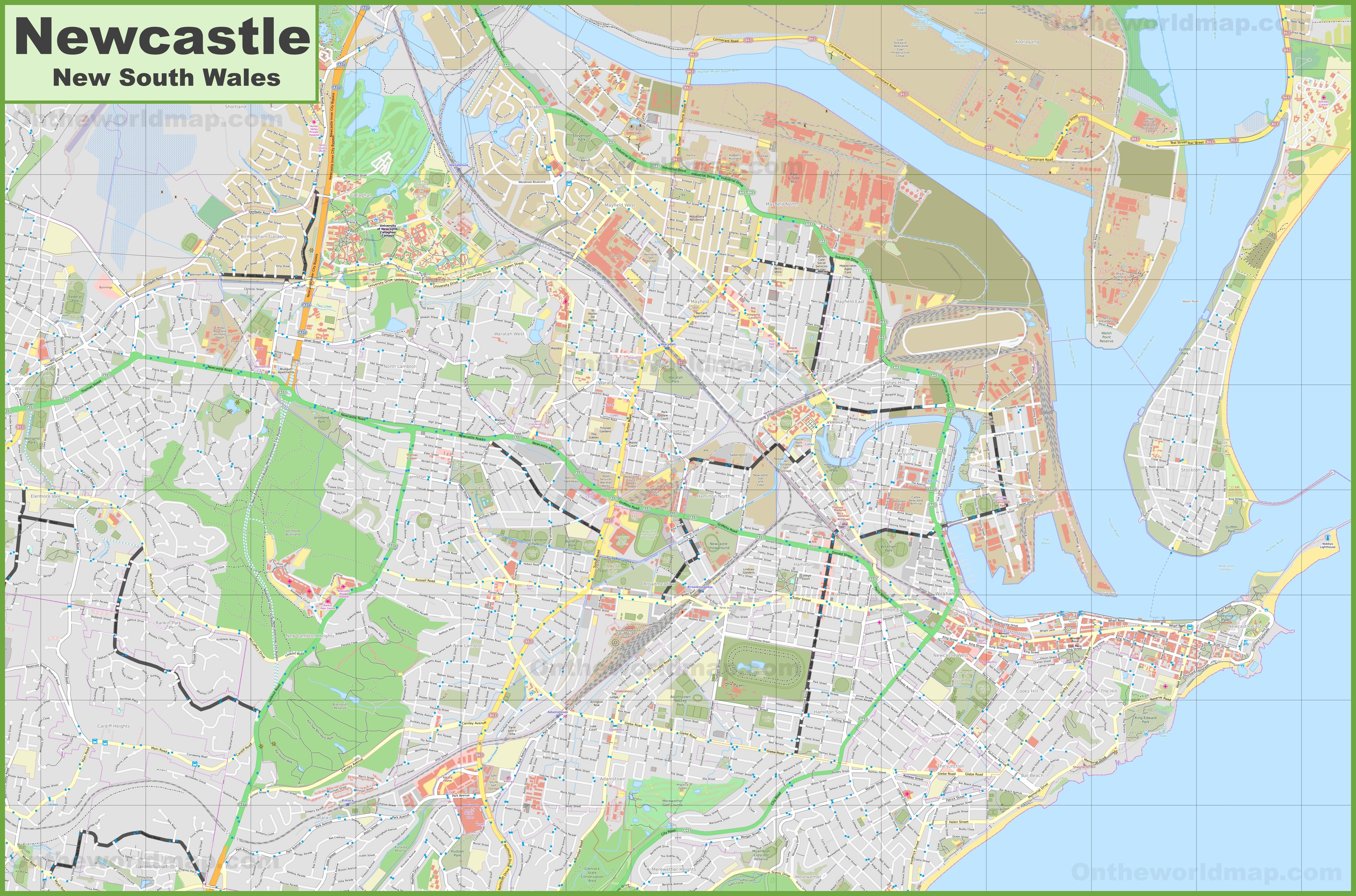 Australia Map Newcastle.Large Detailed Map Of Newcastle