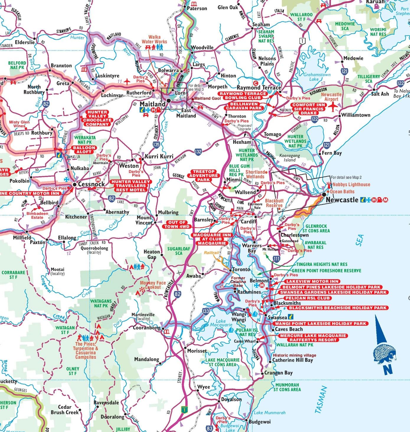 Australia Map Newcastle.Newcastle Area Map