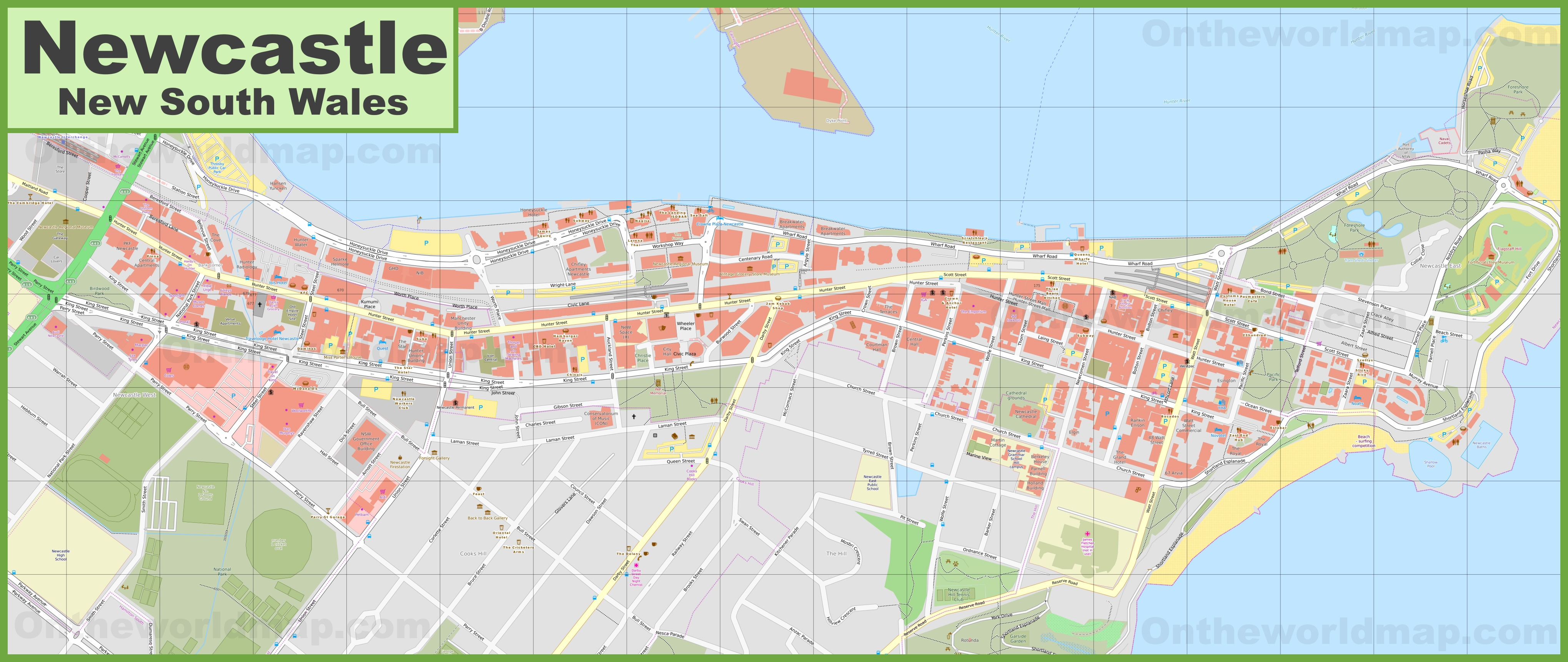 Australia Map Newcastle.Newcastle Cbd Map