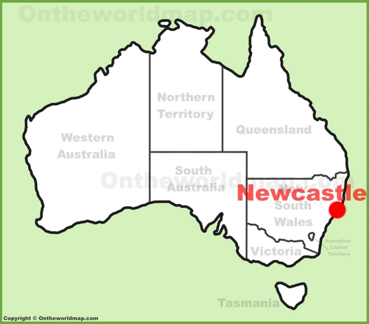 Newcastle location on the Australia Map