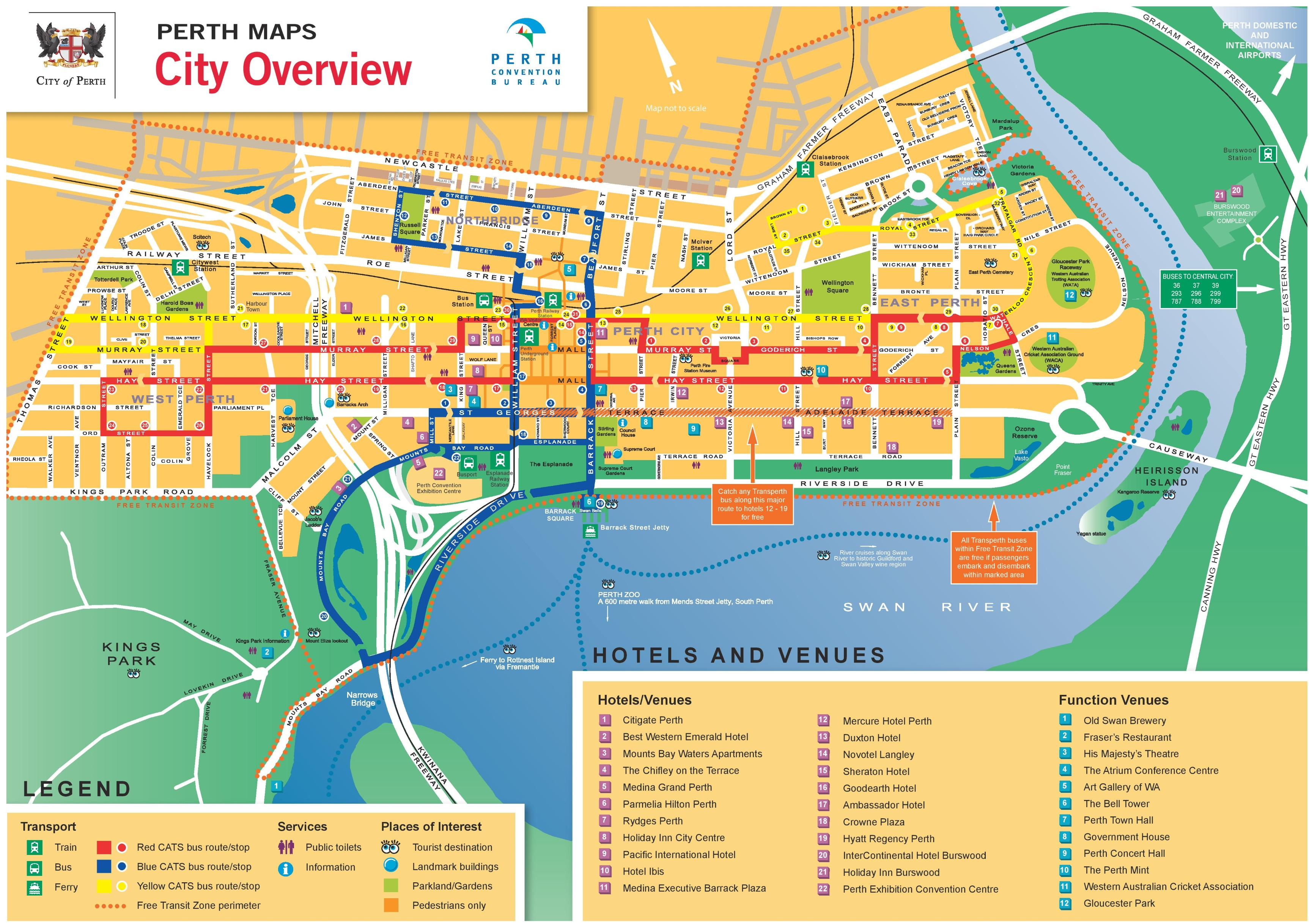 Map Of Perth Perth CBD map Map Of Perth