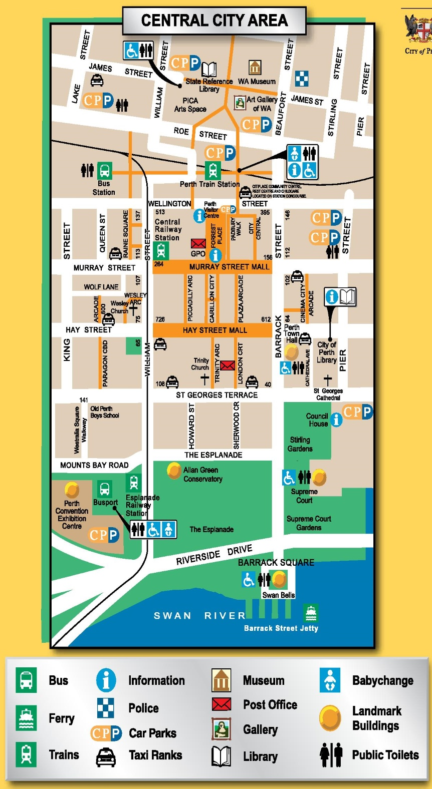 Perth In Australia Map.Perth City Center Map