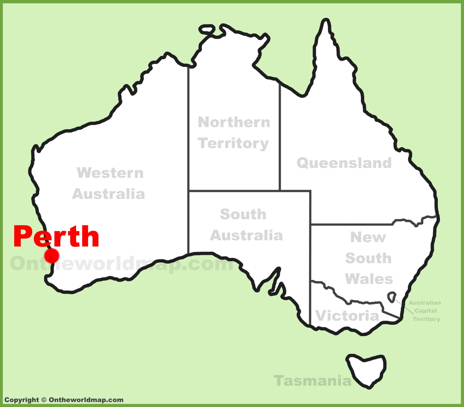 Perth location on the Australia Map