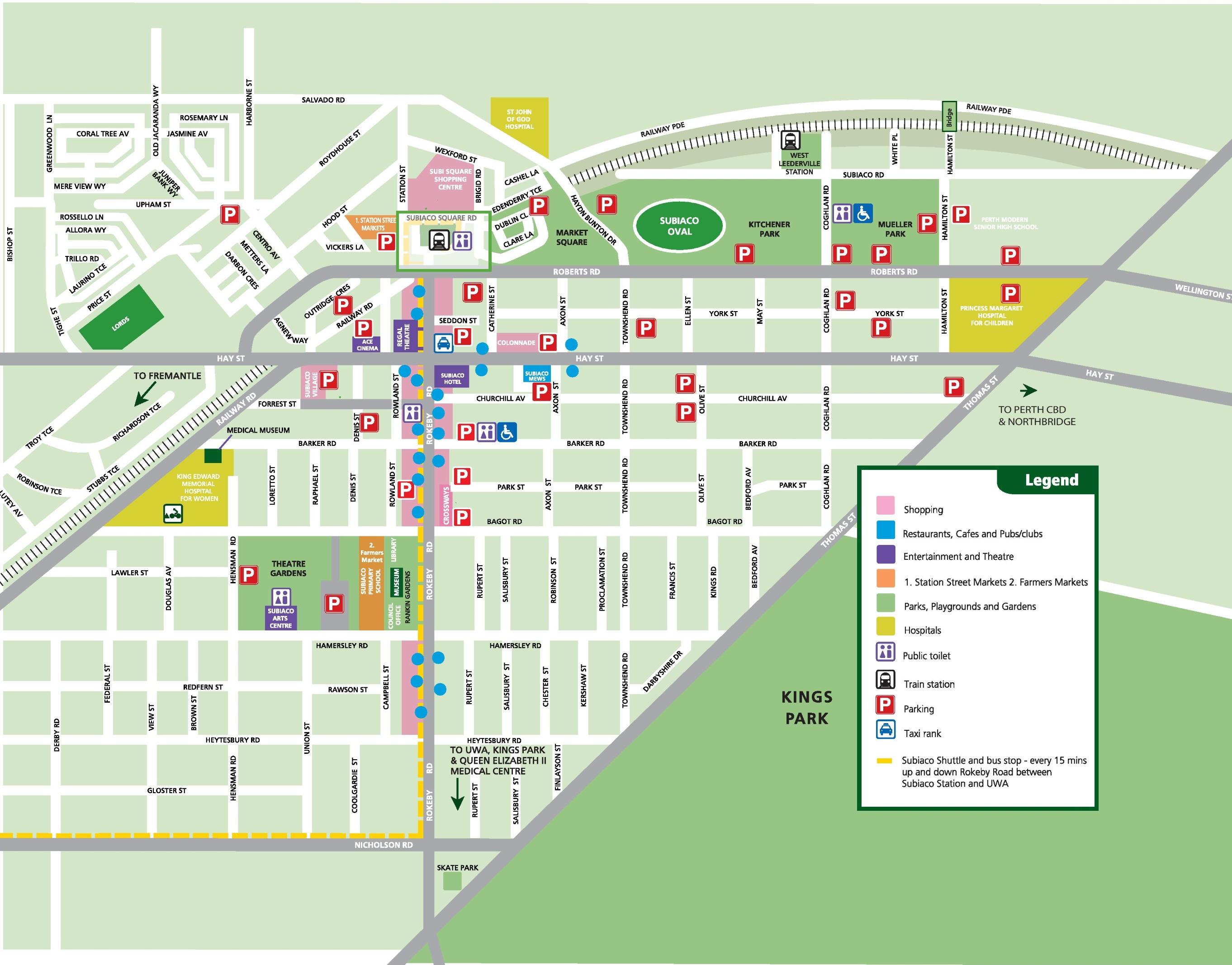 Subiaco Map - Perth world map