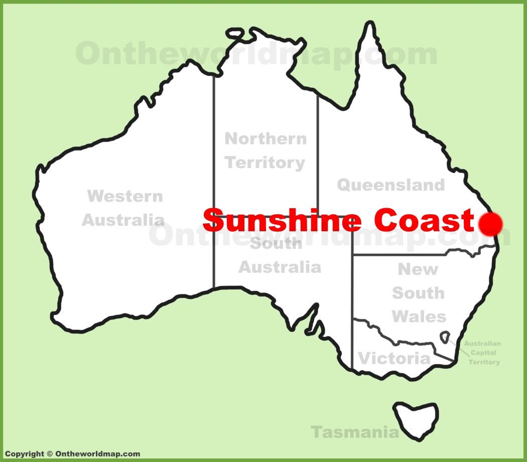 Sunshine Coast location on the Australia Map
