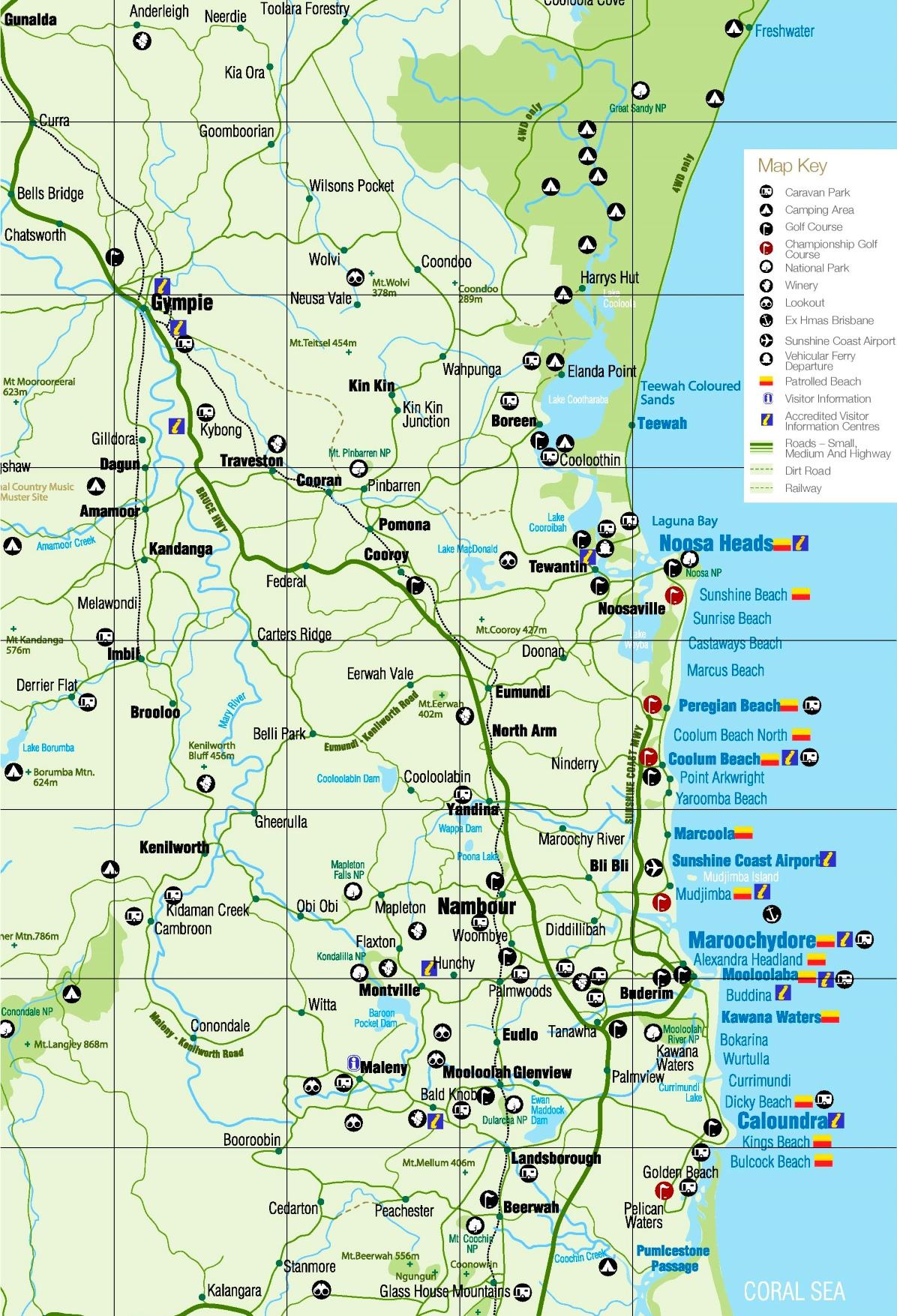Tourist Map Of East Coast Of Australia.Sunshine Coast Tourist Map