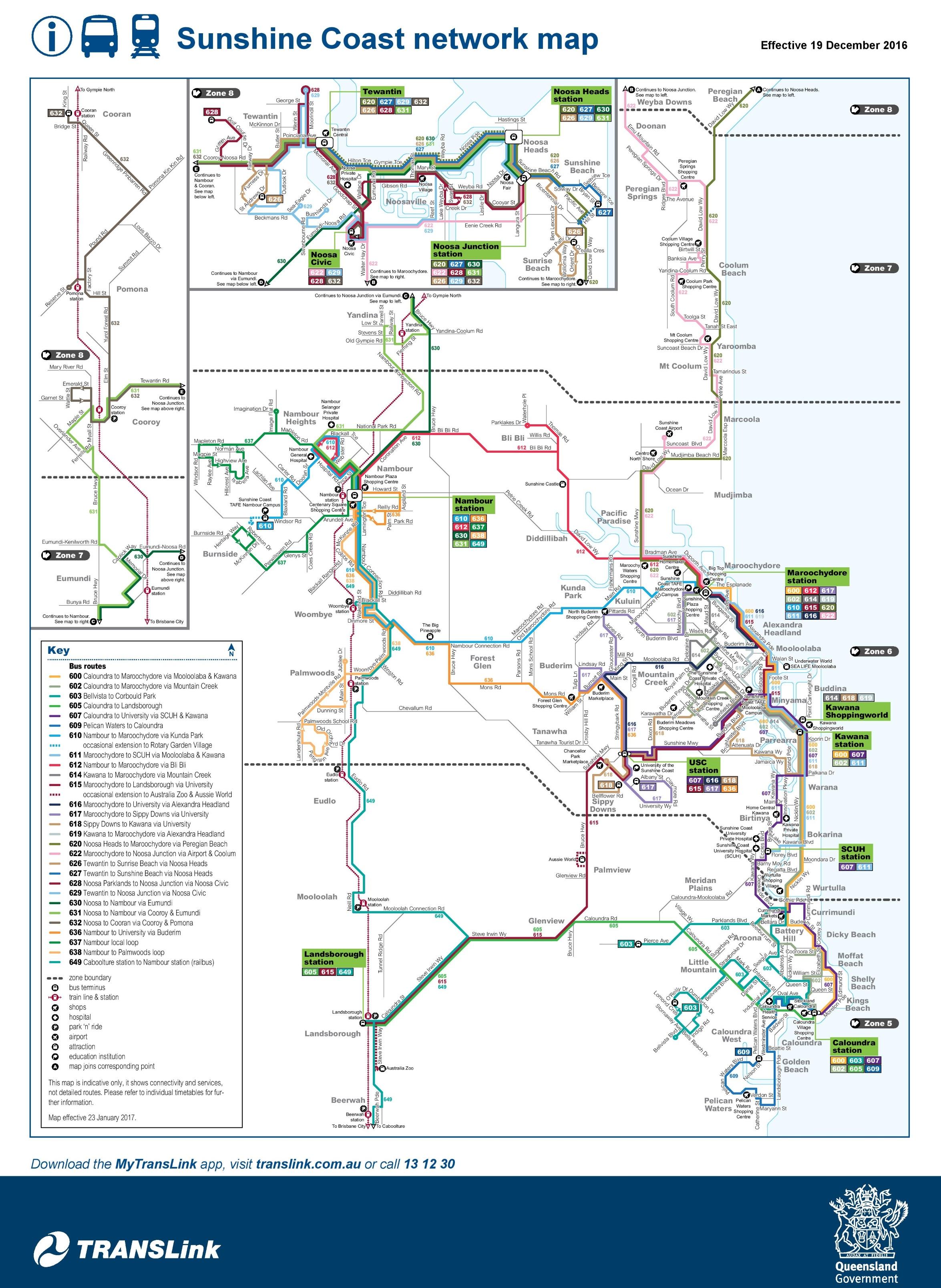 Sunshine Coast transport map