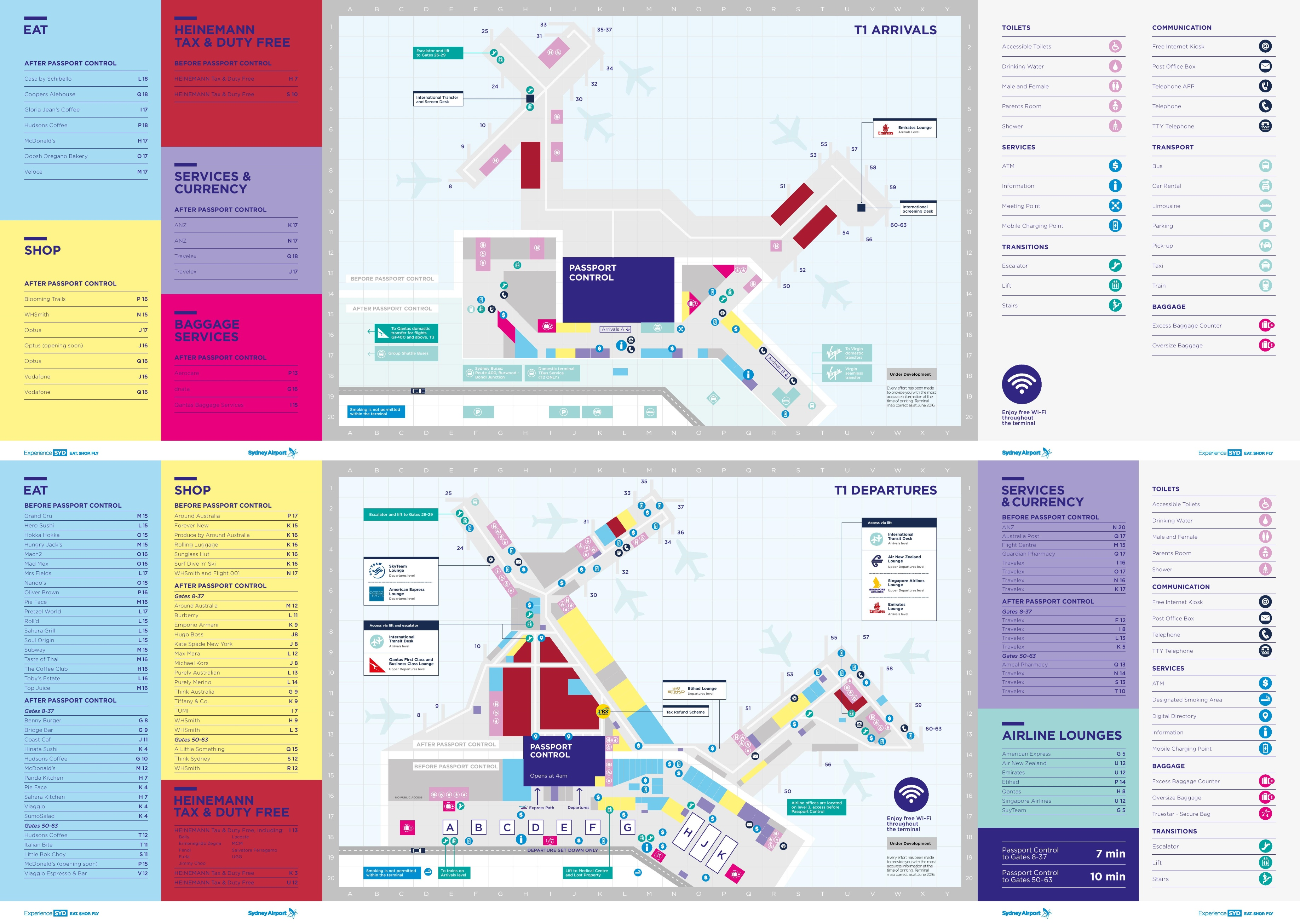 sydney airport shopping map Sydney Airport Terminal 1 Map sydney airport shopping map