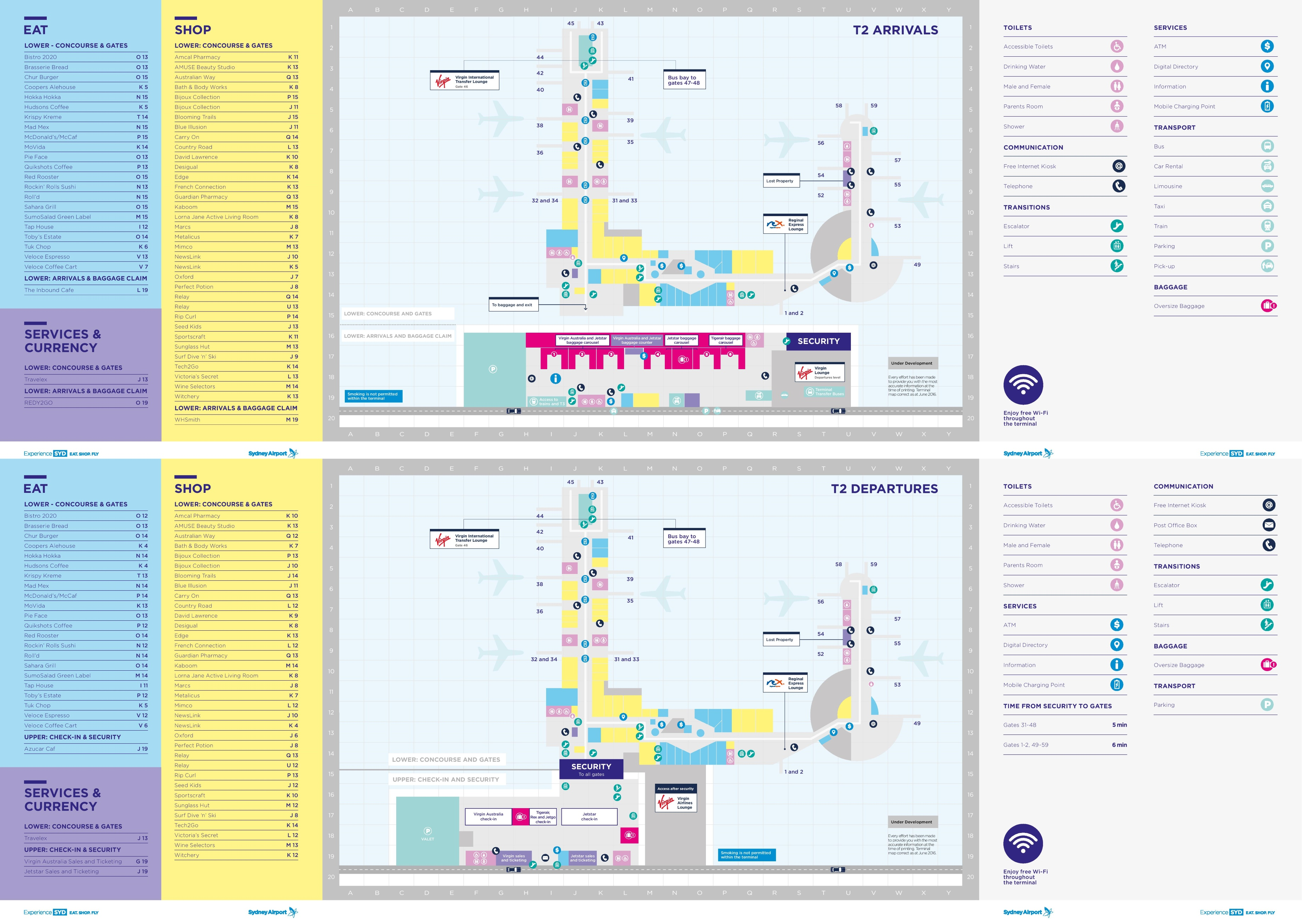sydney airport shopping map Sydney Airport Terminal 2 Map sydney airport shopping map