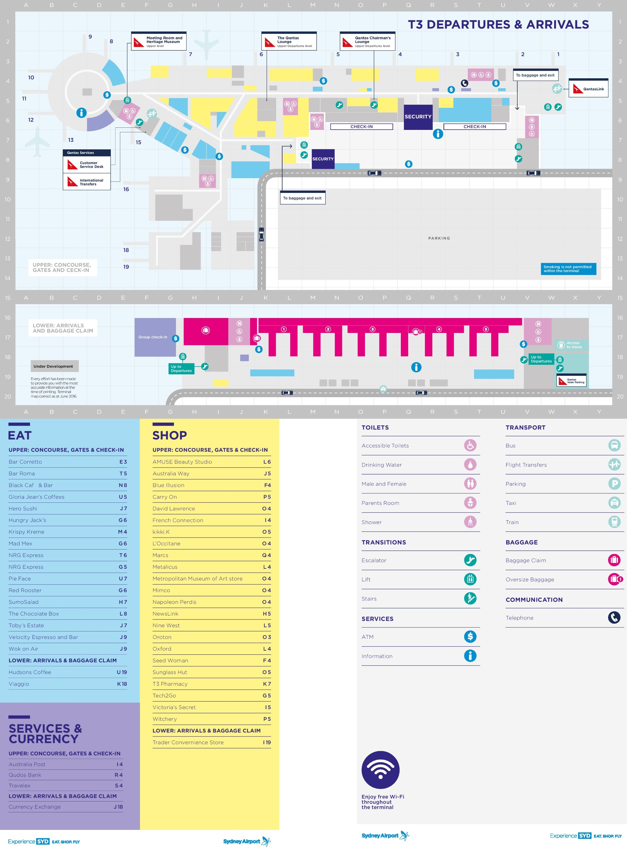 Sydney Airport Terminal Map Sydney airport terminal 3 map