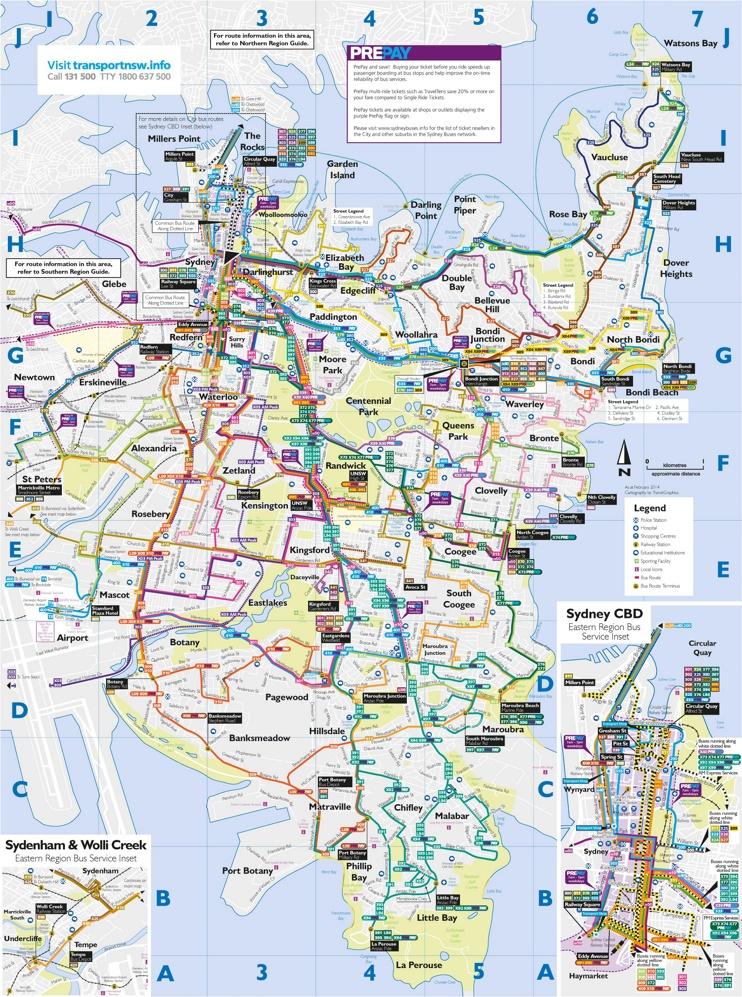 Sydney bus map