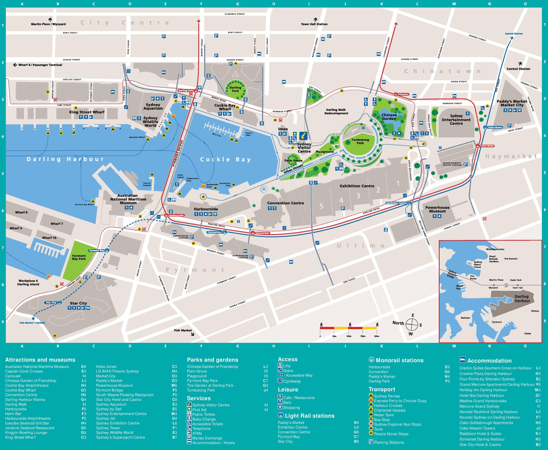 Map Of Sydney Harbour Sydney Darling Harbour map