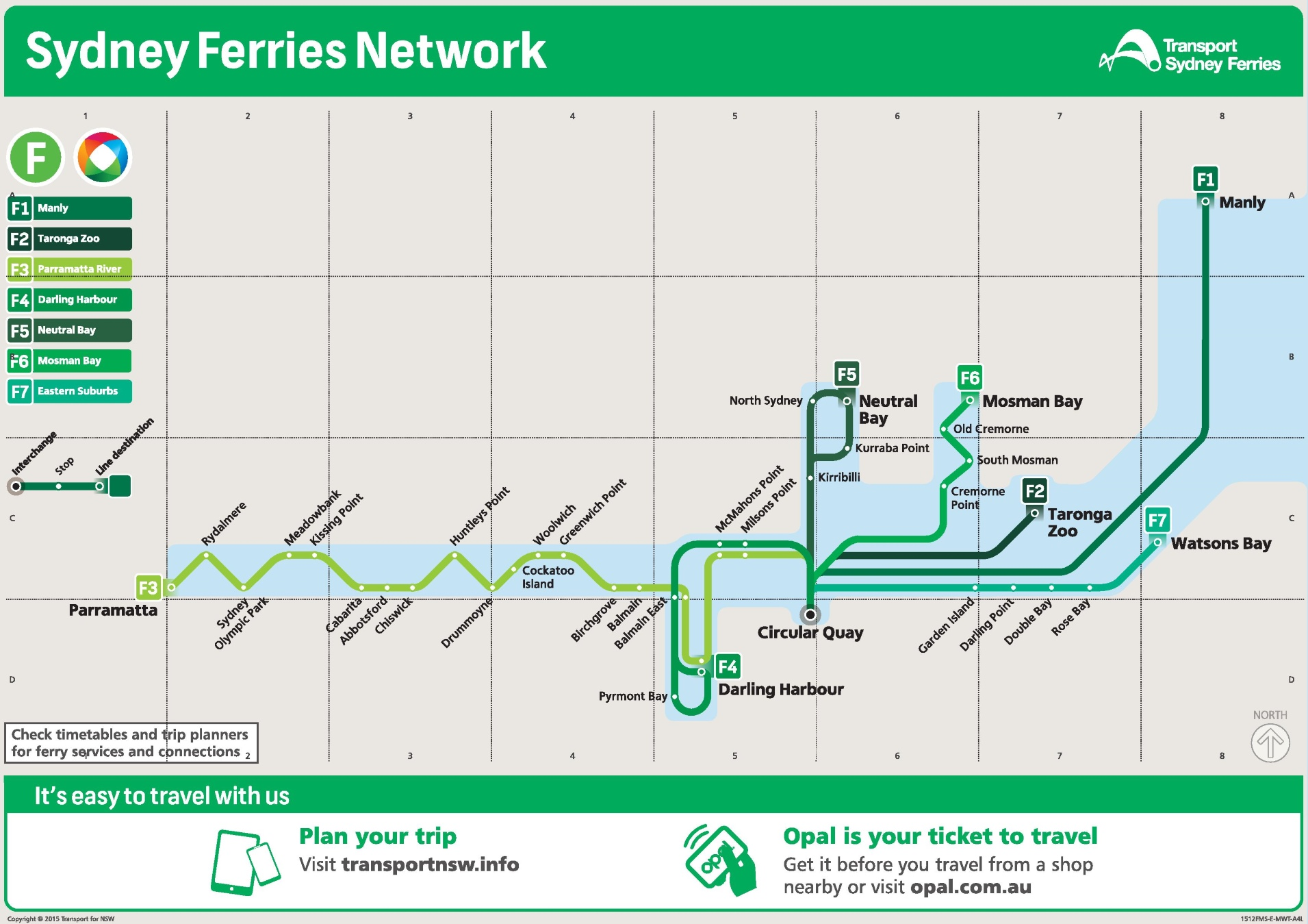 Sydney Ferries Map Sydney ferry map