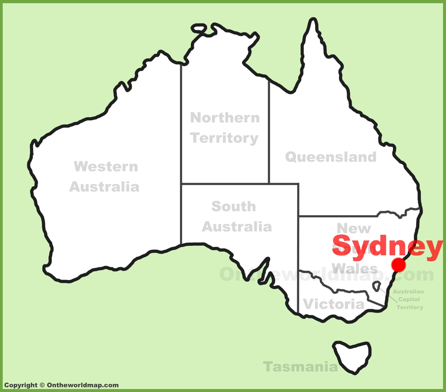 Australia Location Map.Sydney Location On The Australia Map