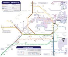 Sydney rail and ferry map