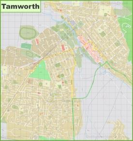 Large detailed map of Tamworth