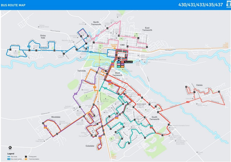 Tamworth Bus map