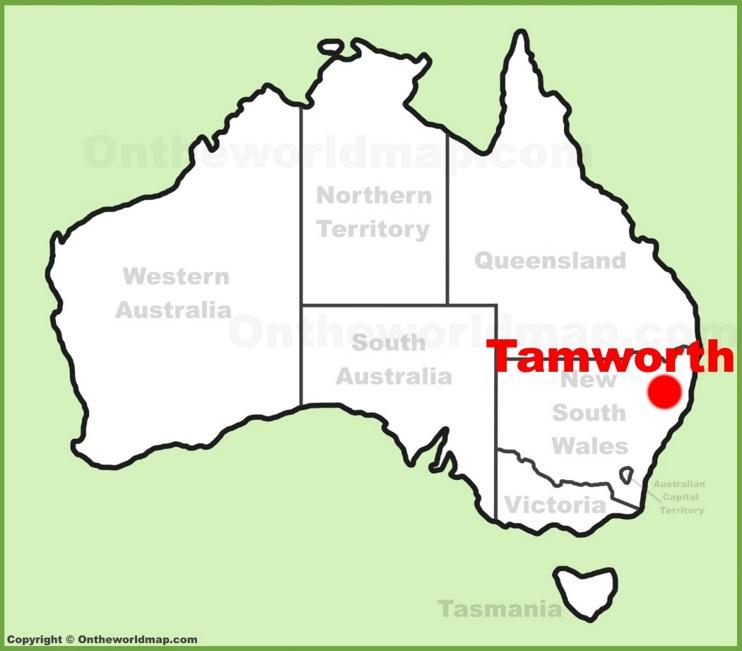 Tamworth location on the Australia Map