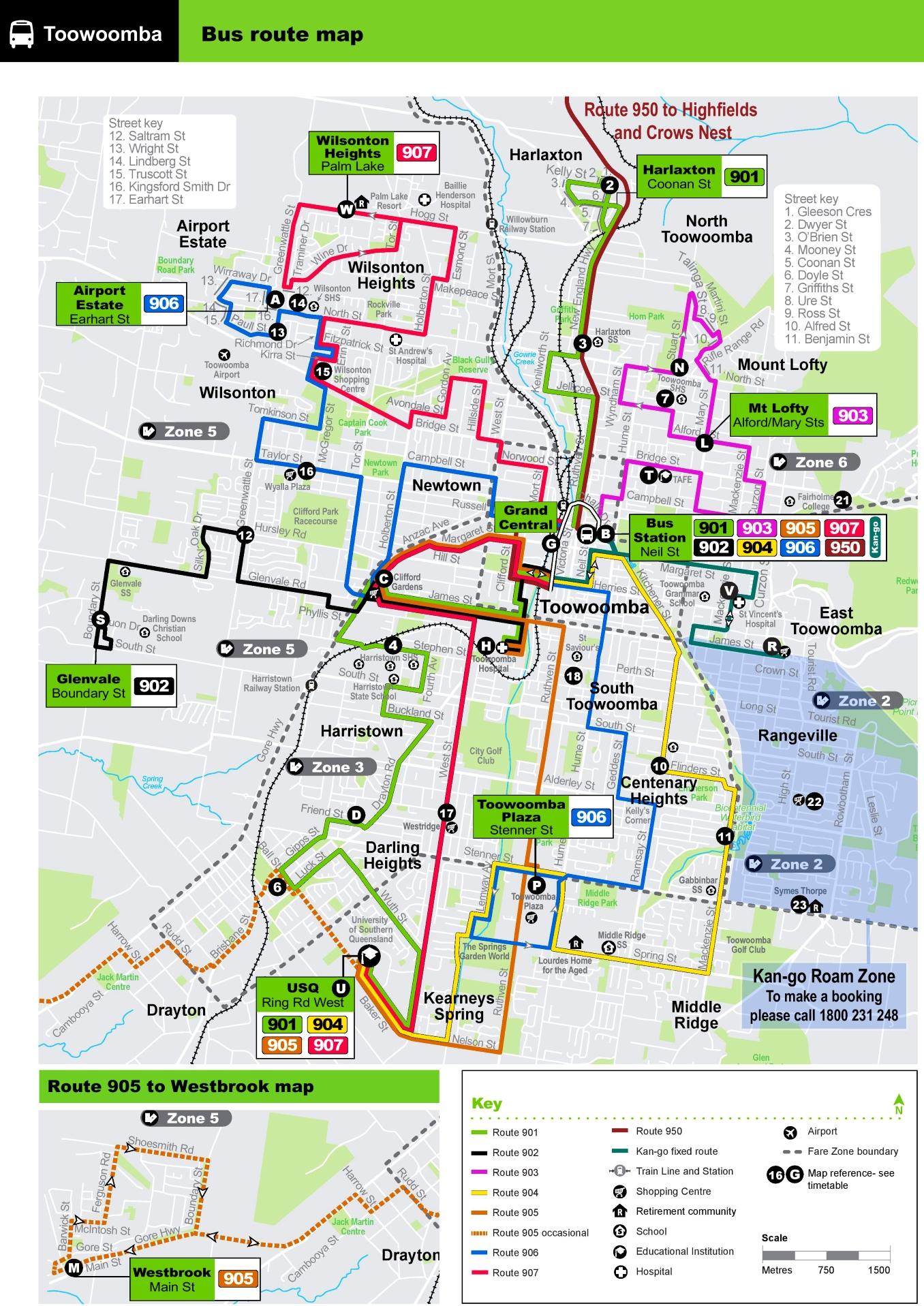 Toowoomba Bus Map