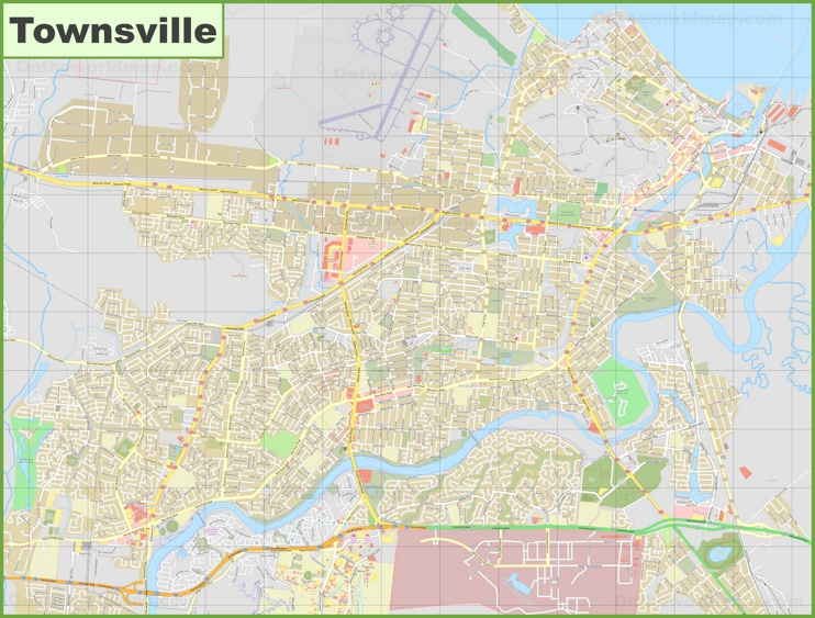 Large detailed map of Townsville