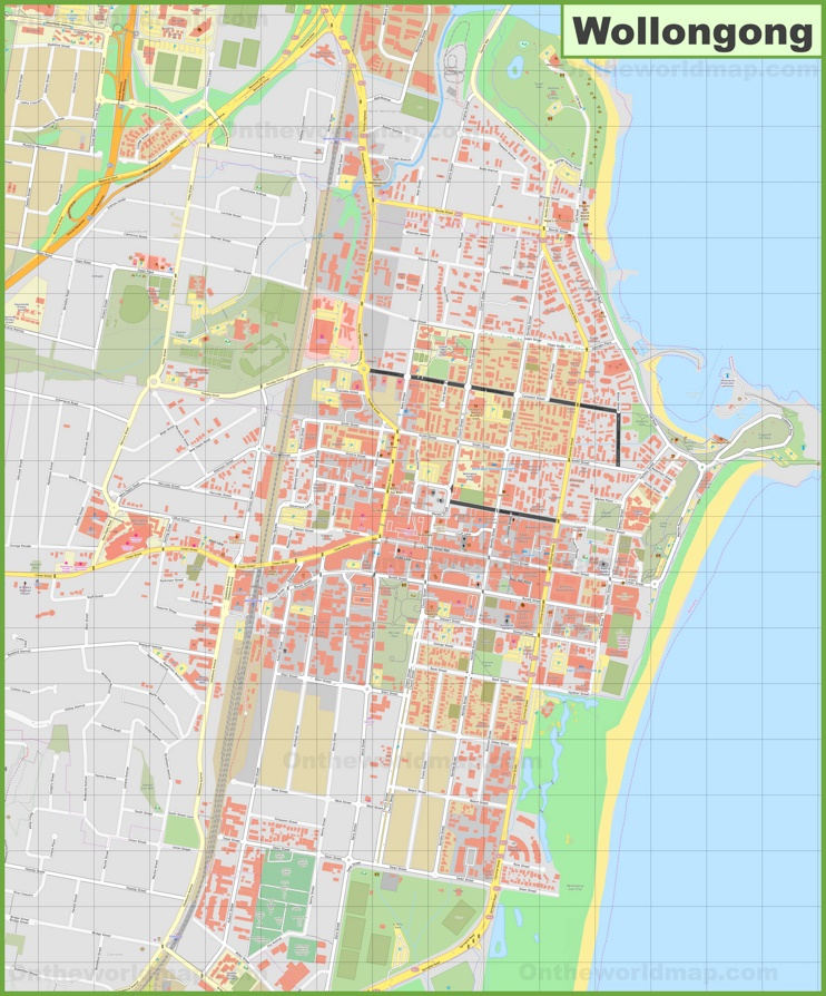 Large detailed map of Wollongong