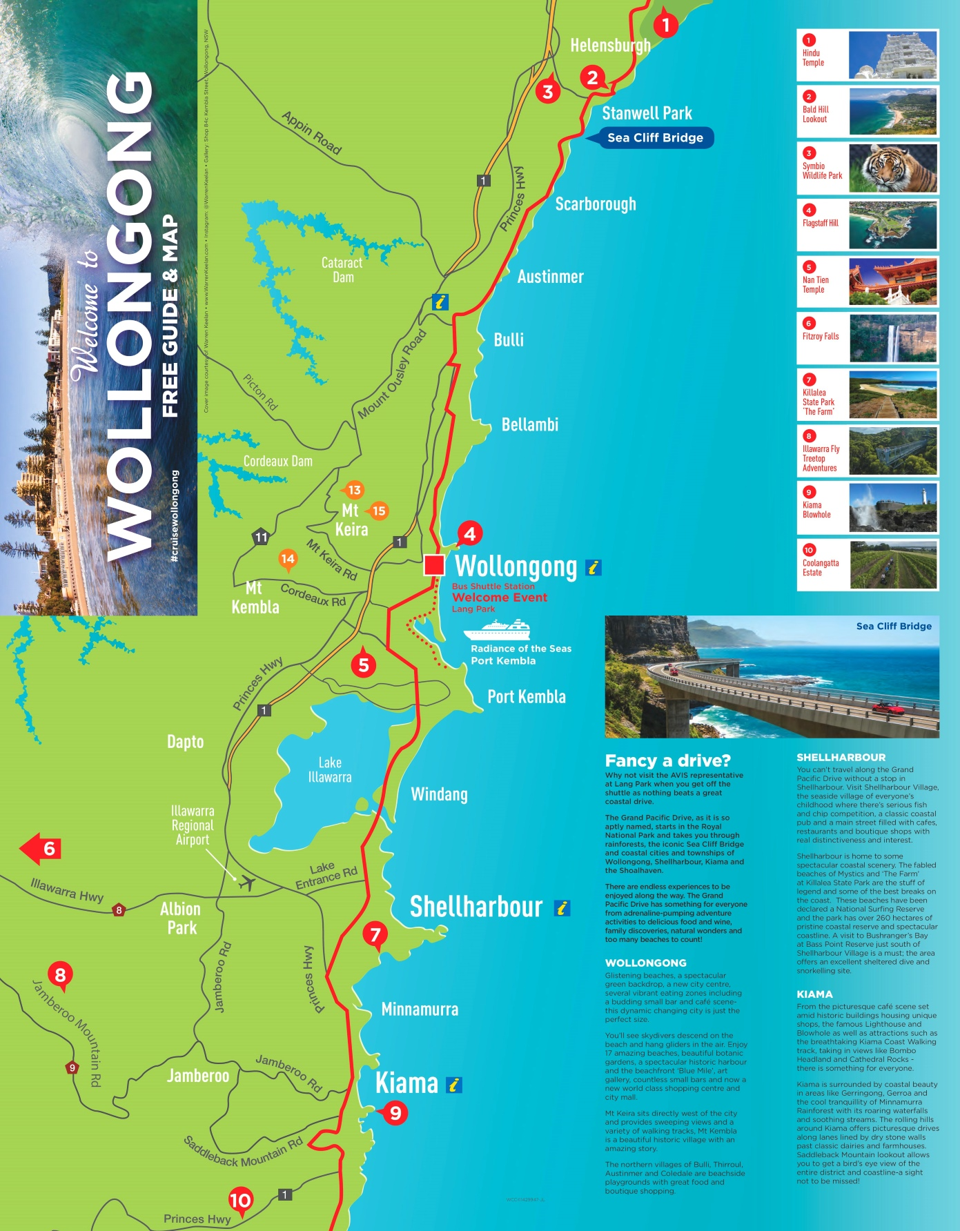 Wollongong area map