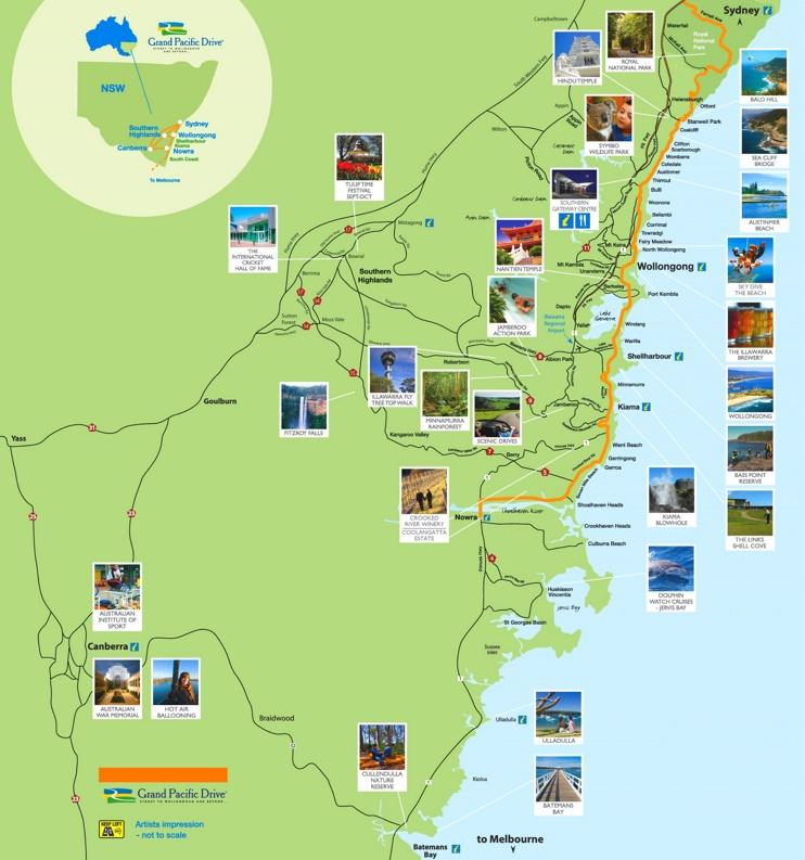 Wollongong area tourist map