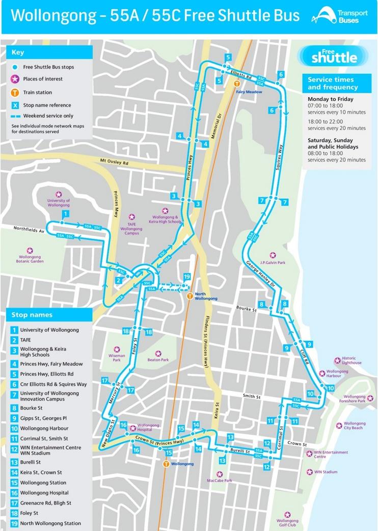 Wollongong free shuttle bus map