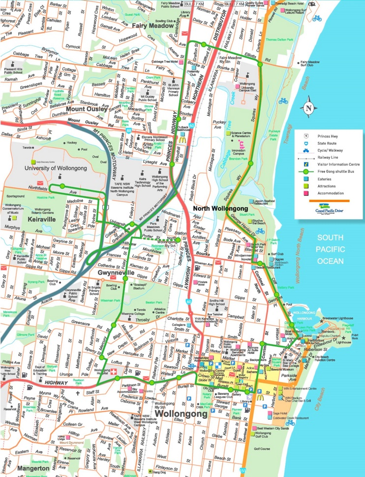 Wollongong hotels and sightseeings map