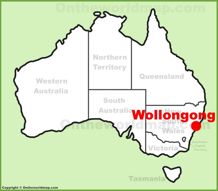 Wollongong location on the Australia Map
