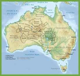 Desert map of Australia