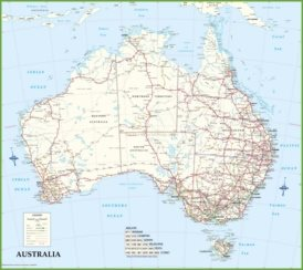 Large detailed road map of Australia