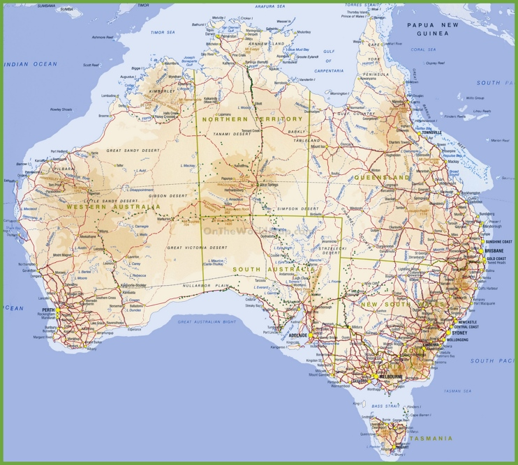 Large detailed topographical map of Australia