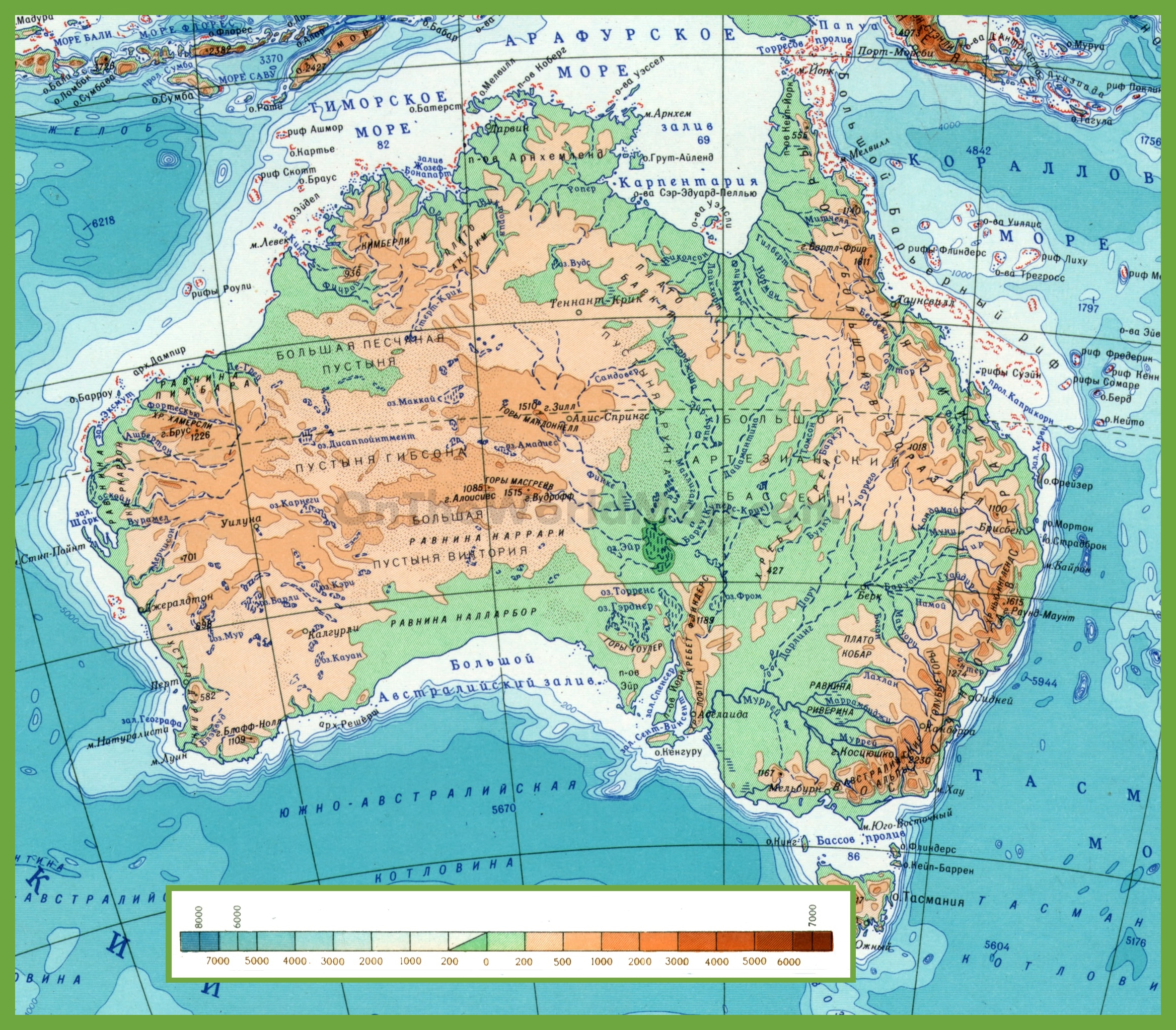 Australia Map Mountains.Physical Map Of Australia