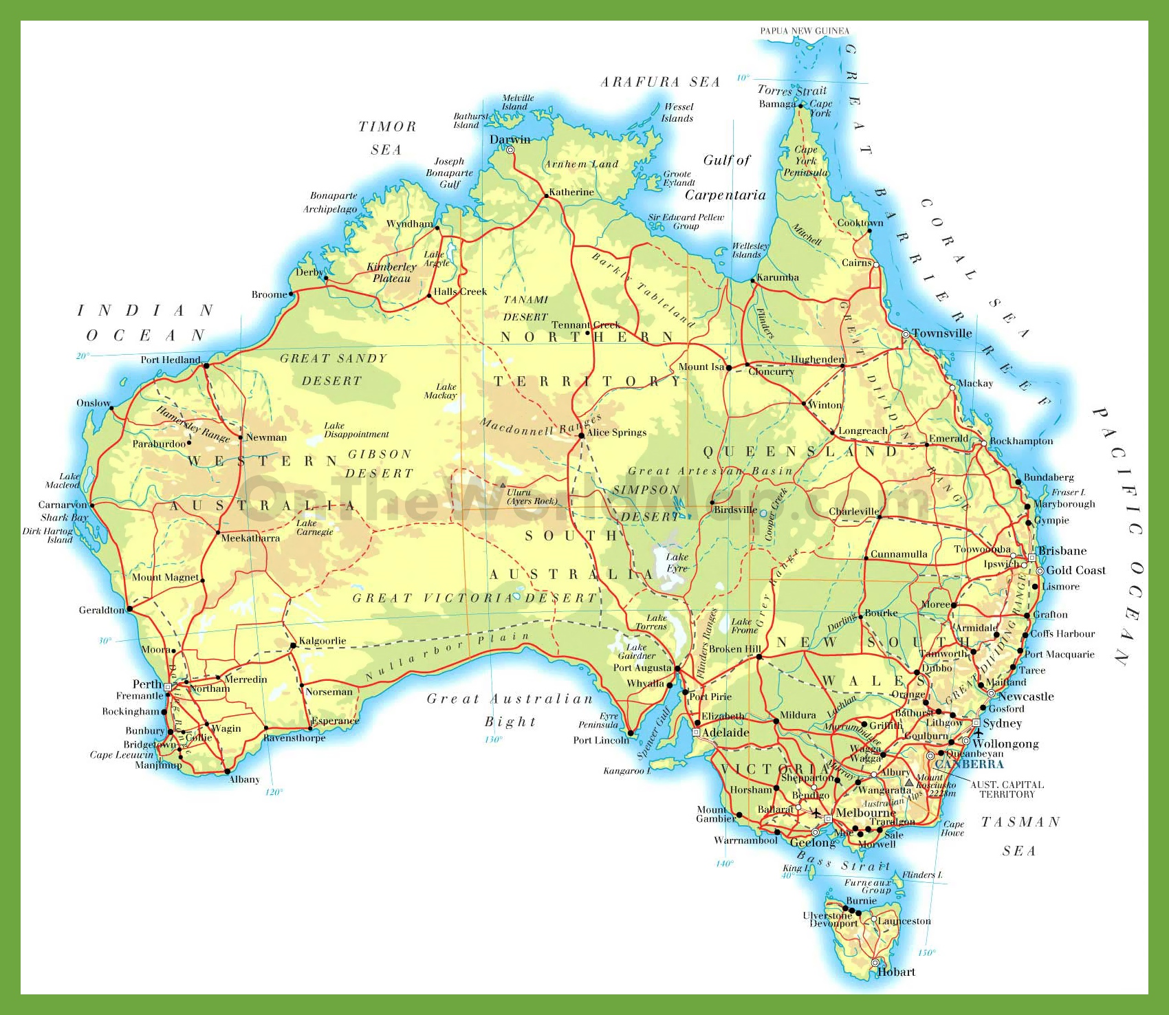 Physical Road Map Of Australia - Australian road maps free