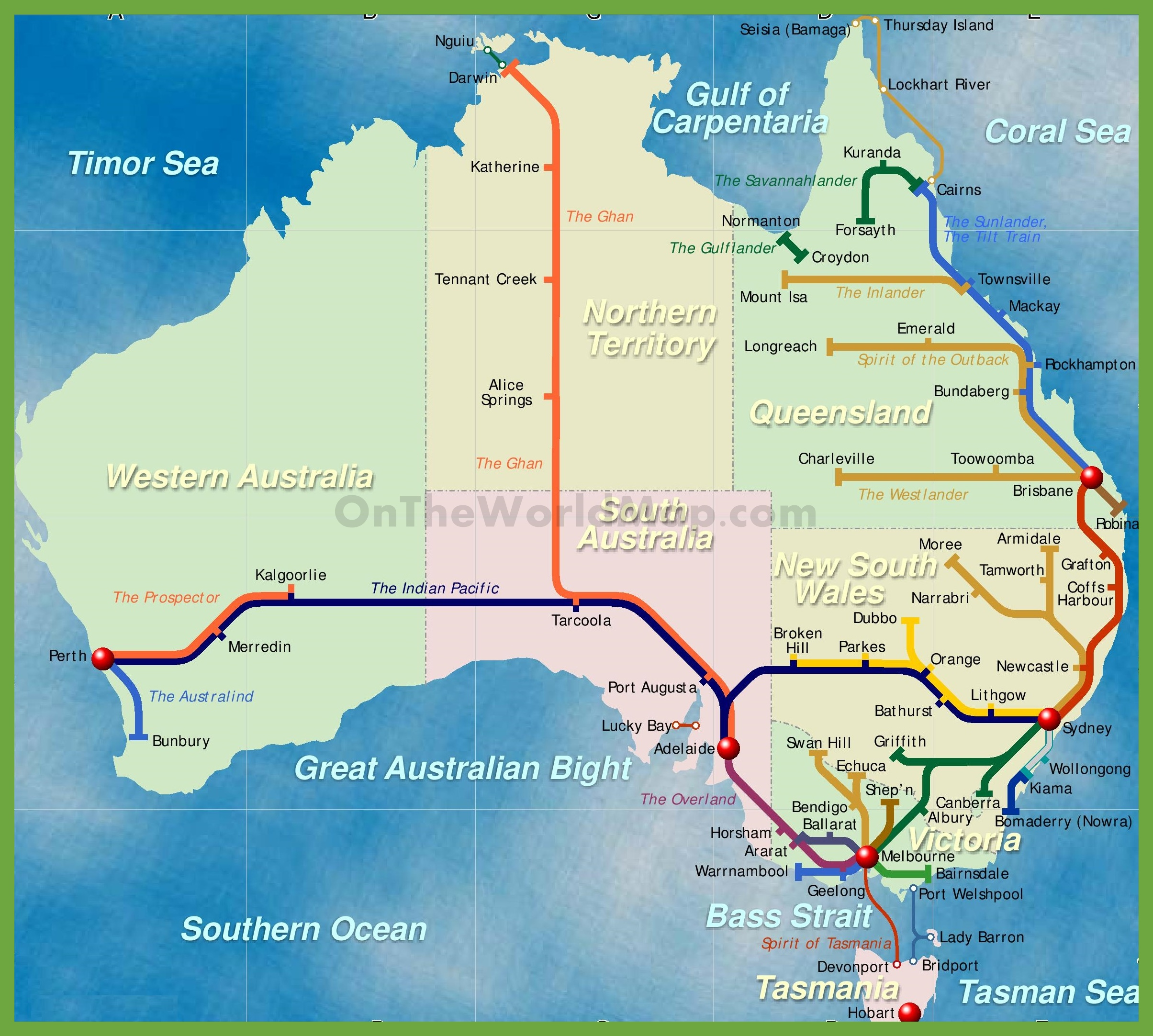 railway map of australia