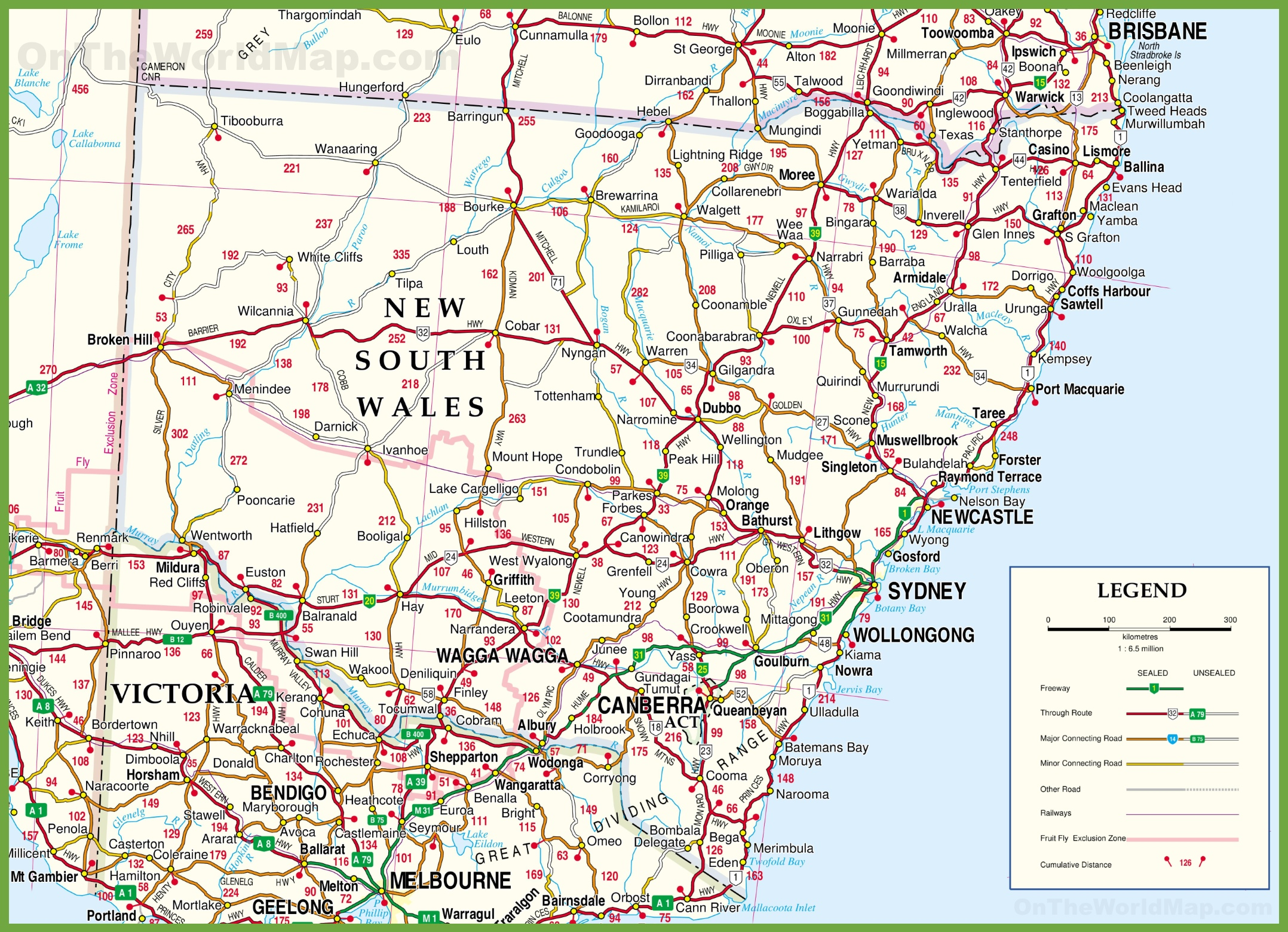Road Map Nsw Large detailed map of New South Wales with cities and towns