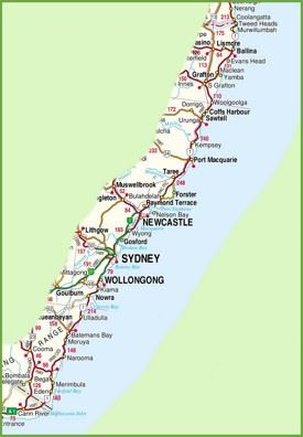 New South Wales coast map