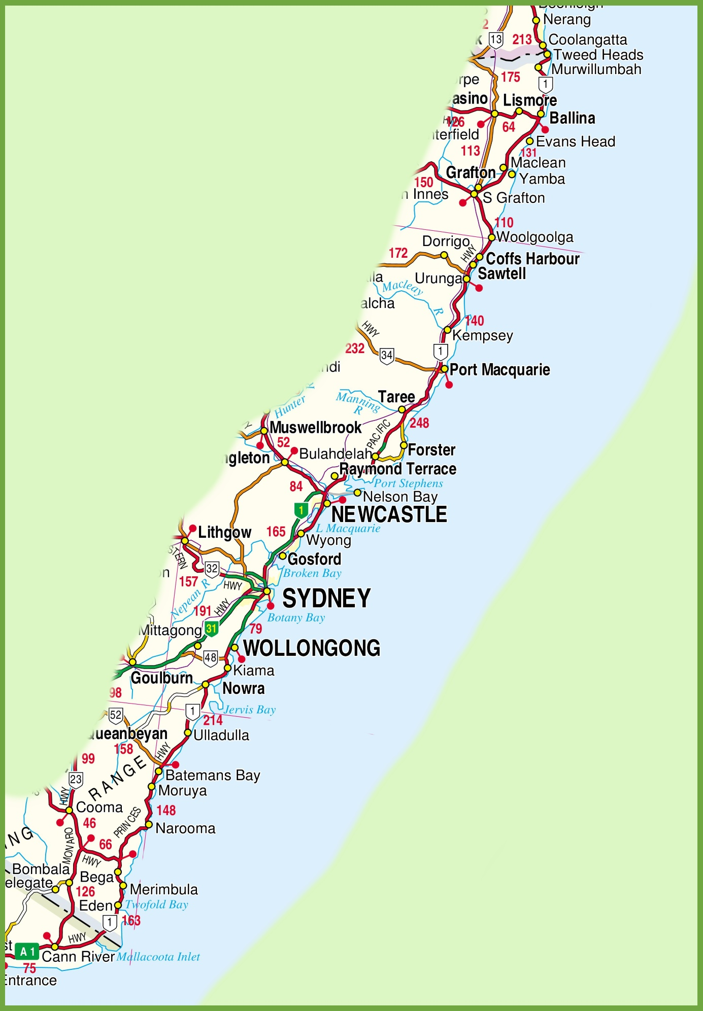 Nsw North Coast Map New South Wales coast map