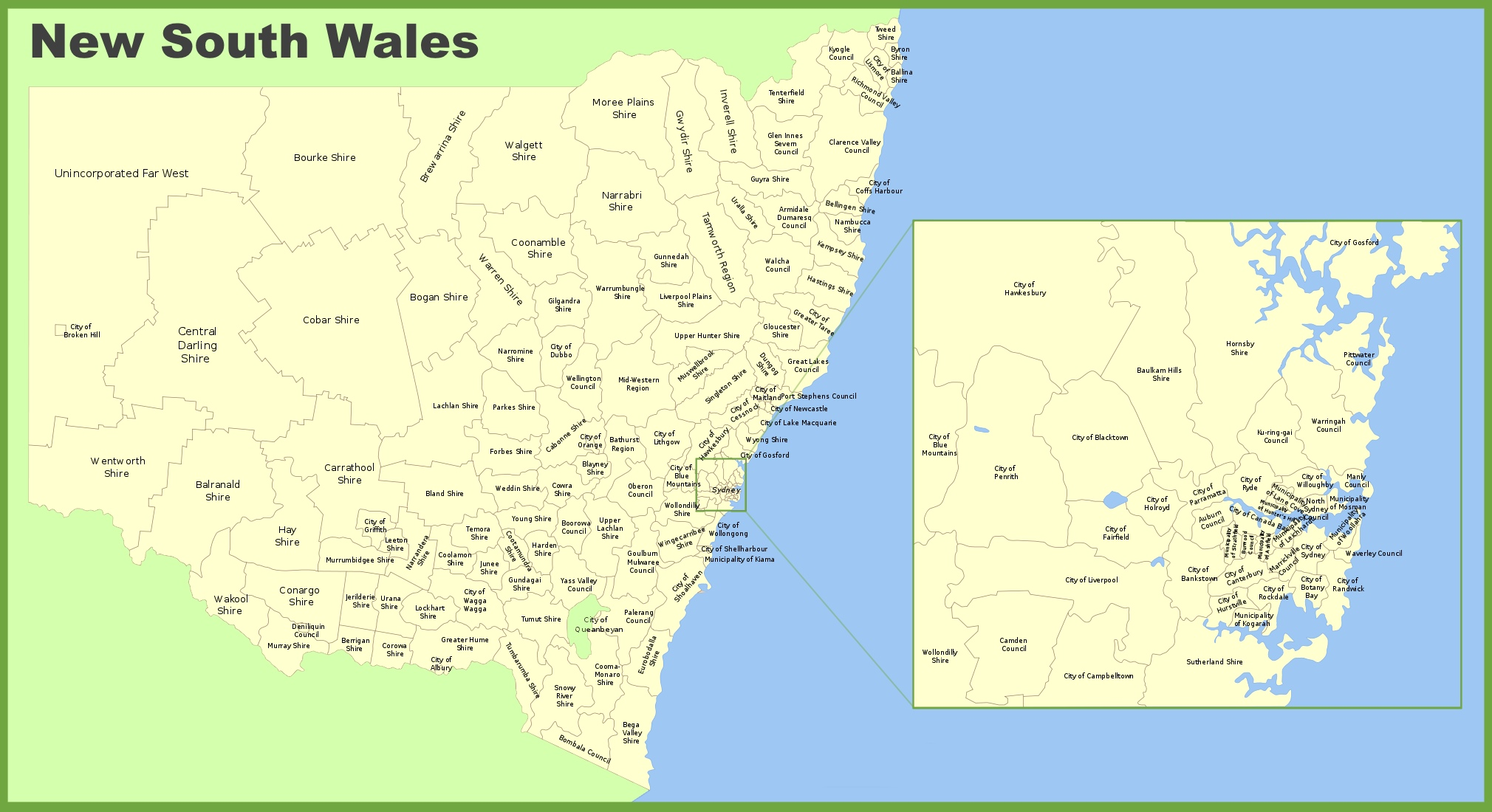New South Wales local government area map