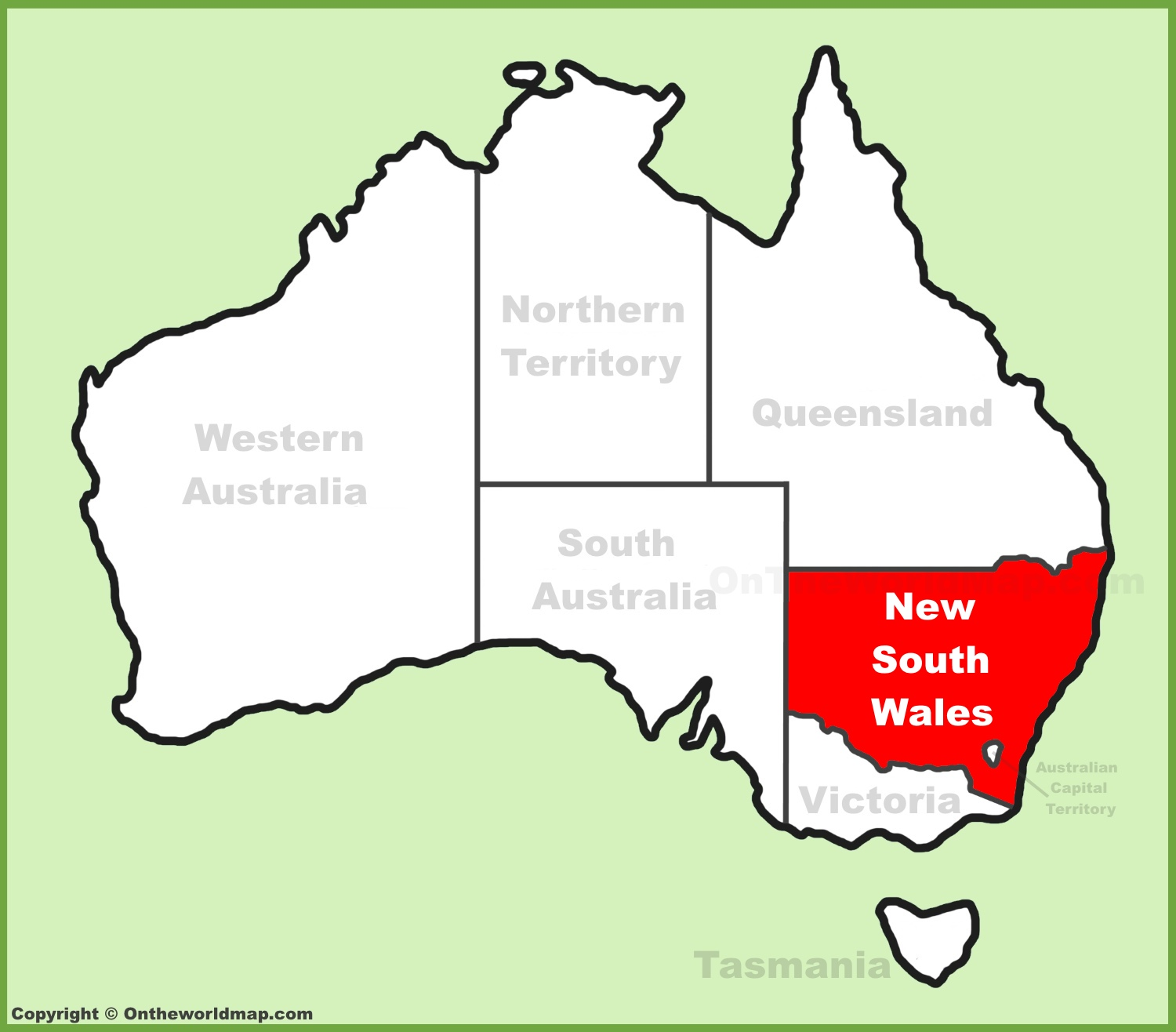New South Wales NSW location on the Australia Map