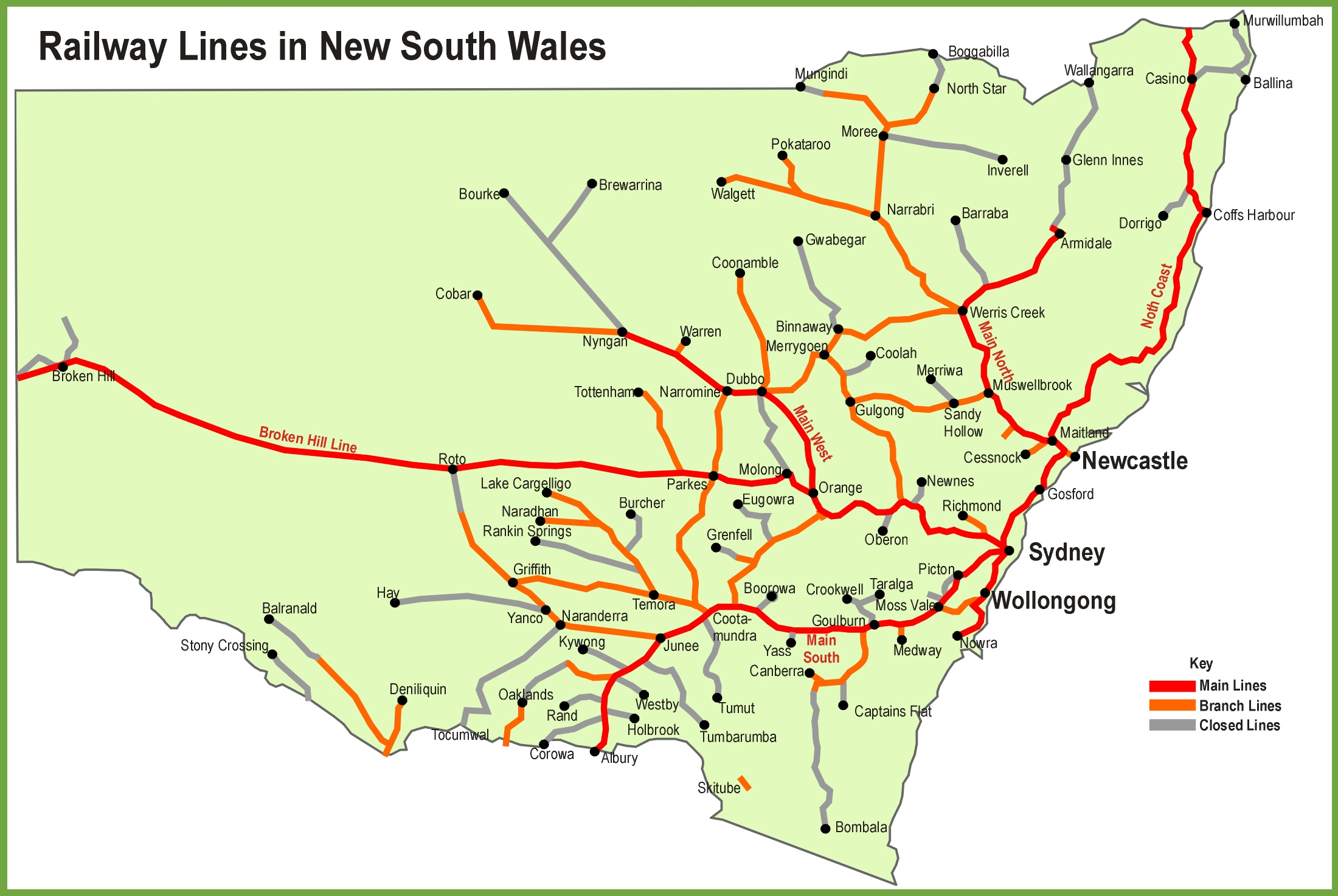 Nsw Rail Map New South Wales railway map