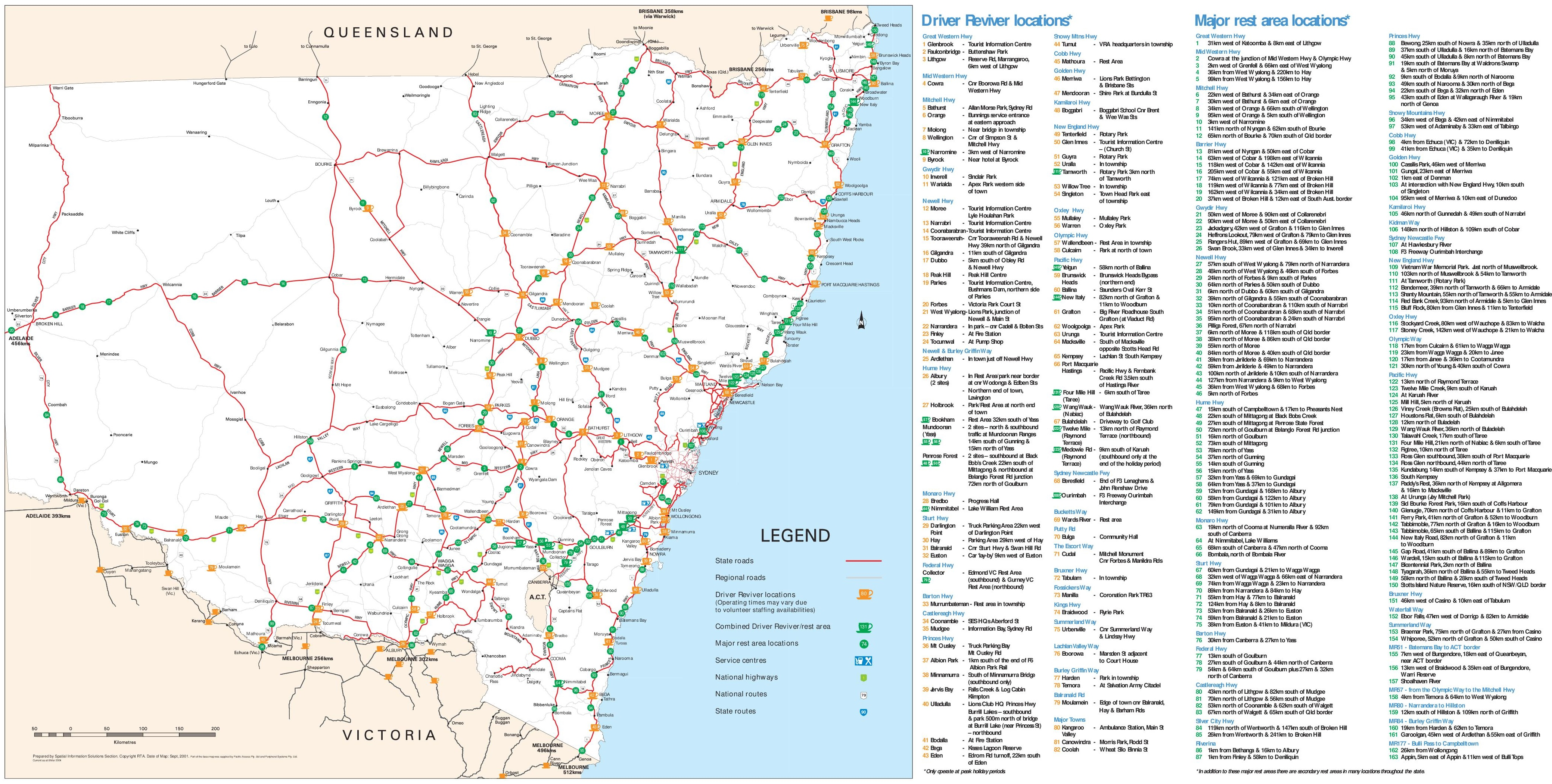 new south wales rest area map