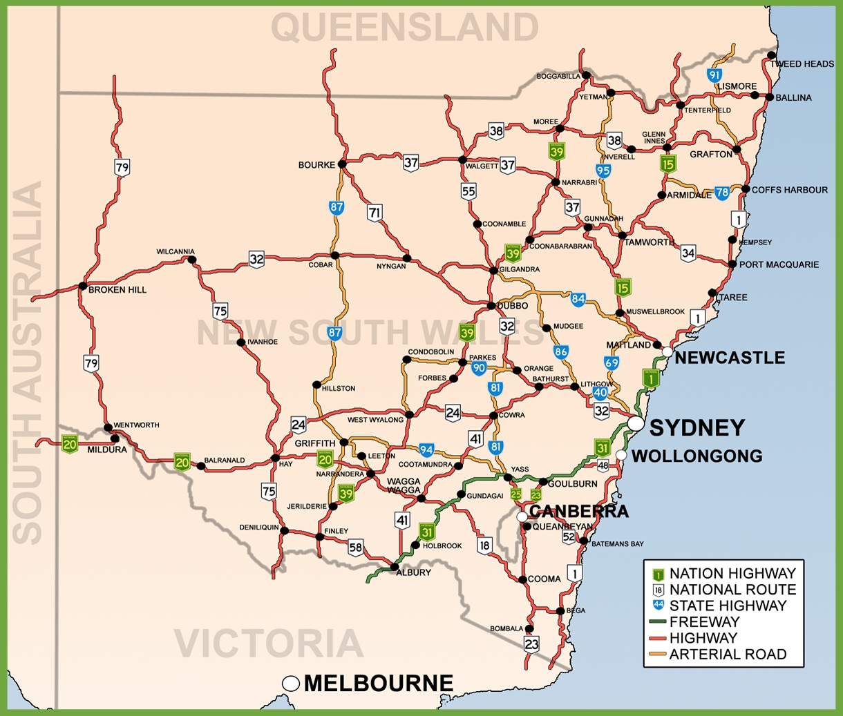 Road Map Nsw New South Wales road map