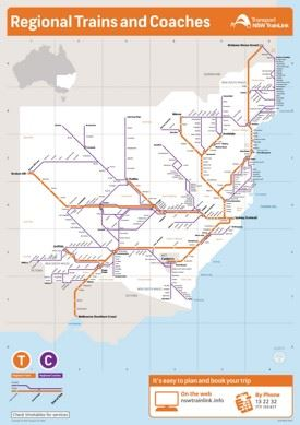 New South Wales train and coach network map