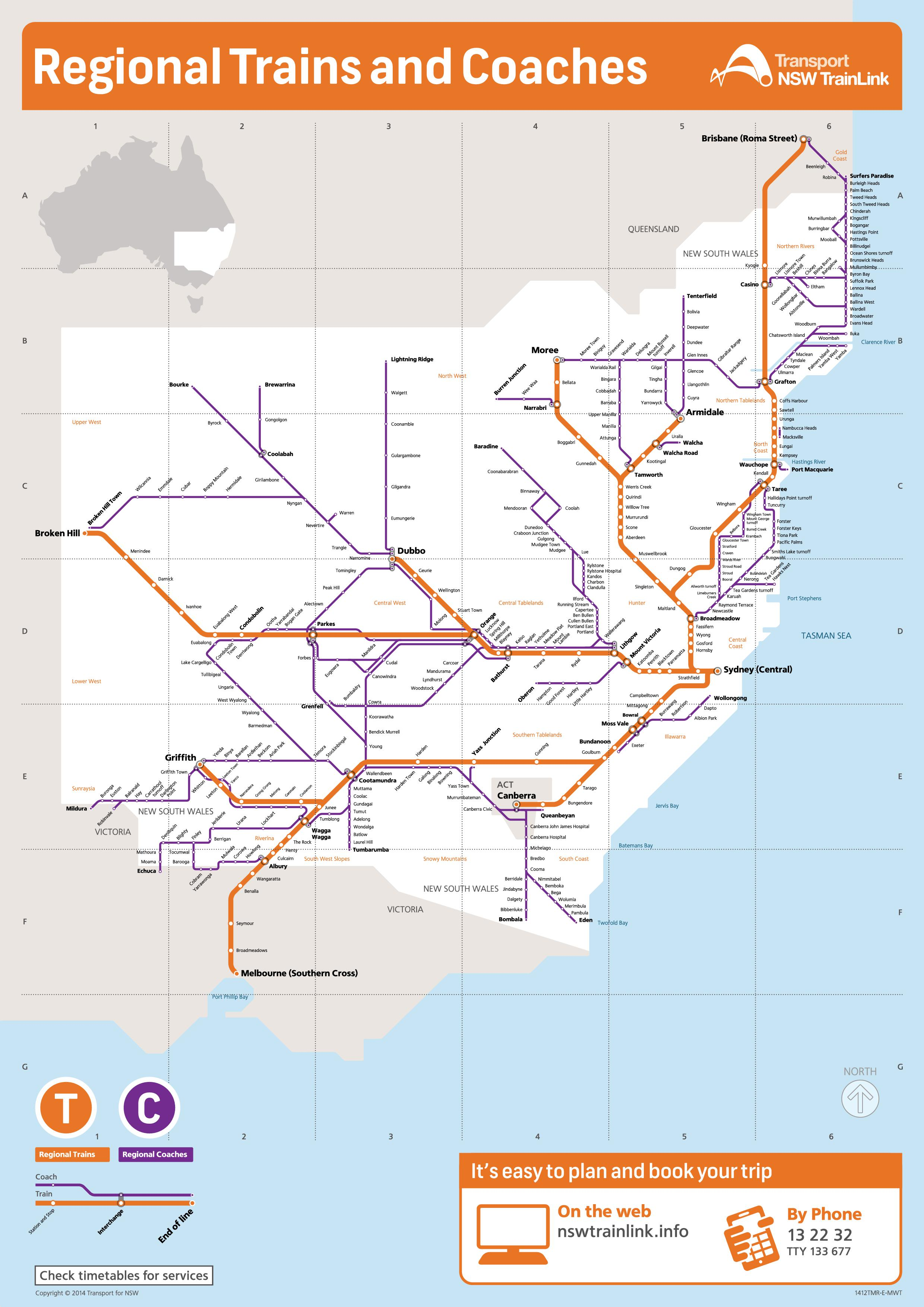 Nsw Rail Map New South Wales train and coach network map