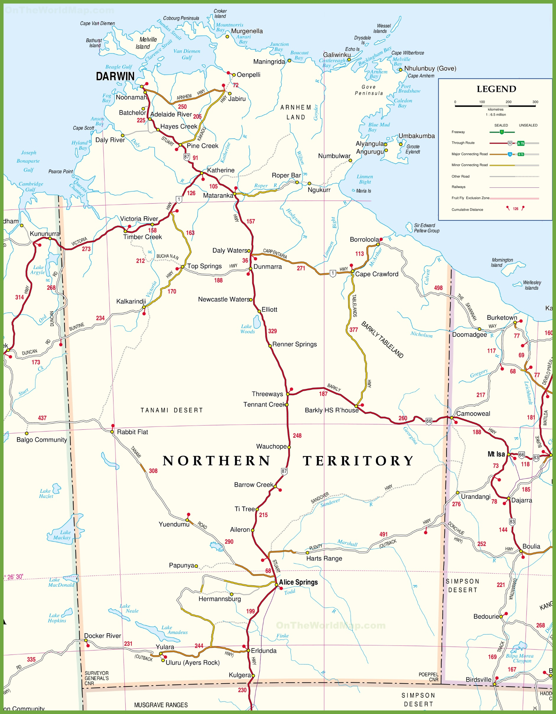 Map Of Nt Large detailed map of Northern Territory with cities and towns